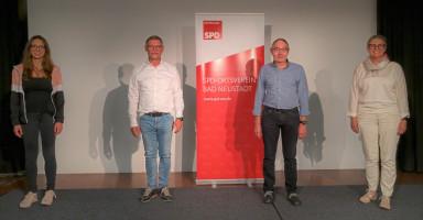 von links: Jessica Detta (Vorsitzende), Bernhard Lorz, Diemtar Weyer sowie Sabine Dittmar (MdB) bei der Mitgliederversammlung am 23.09.2020 (Foto: Alexander Schild)